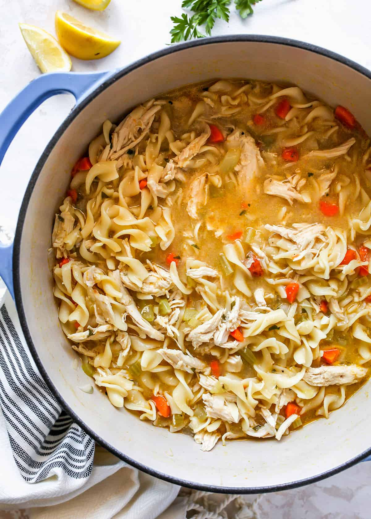 overhead photo fo a pot of Homemade Chicken Noodle Soup Recipe