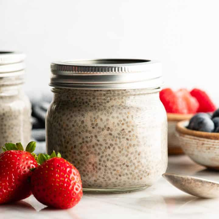 front view of a jar of chia seed pudding with the lid on