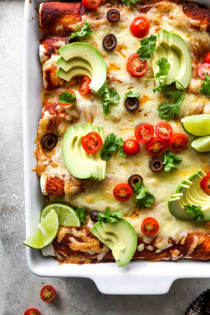 overhead photo of this Chicken Enchilada Recipe in a baking dish