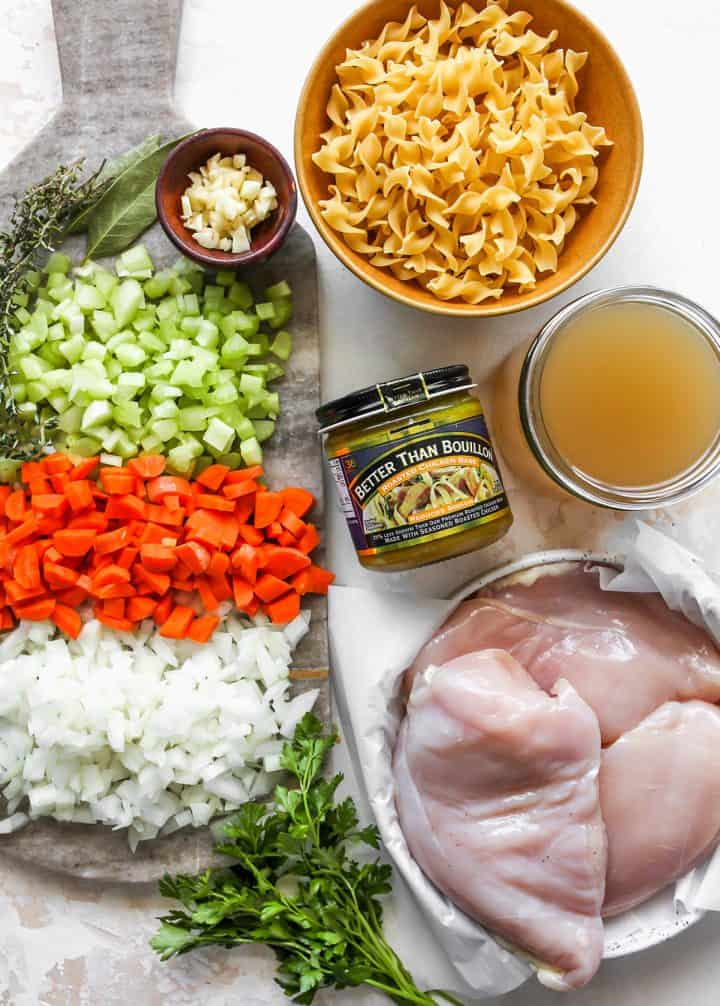 overhead photo of the ingredients in this Homemade Chicken Noodle Soup Recipe