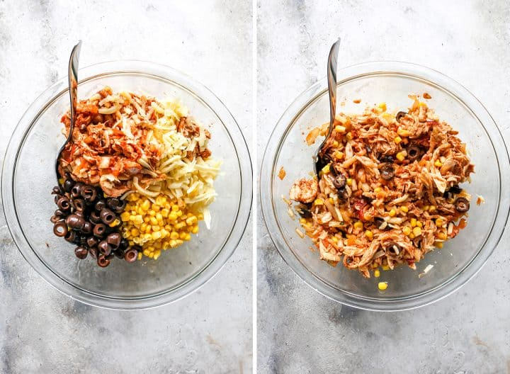 two photos showing How to Make Chicken Enchiladas