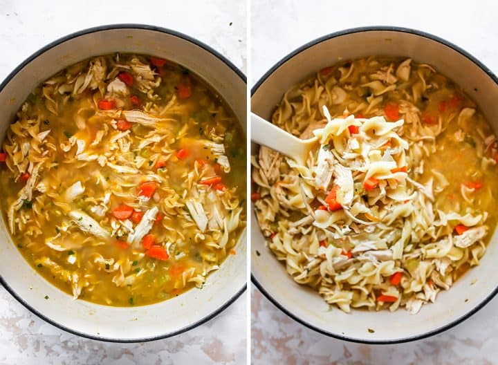two overhead photos showing How to Make Chicken Noodle Soup