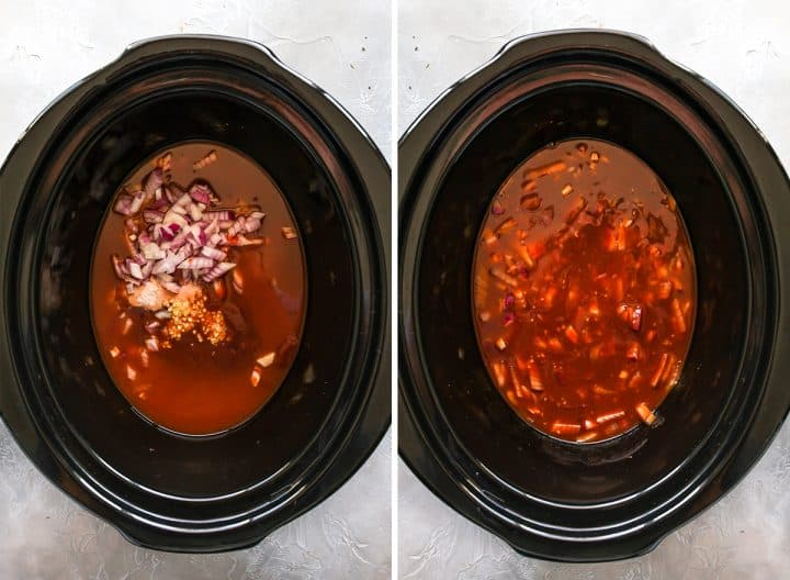 two overhead photos showing How to Make Crockpot BBQ chicken
