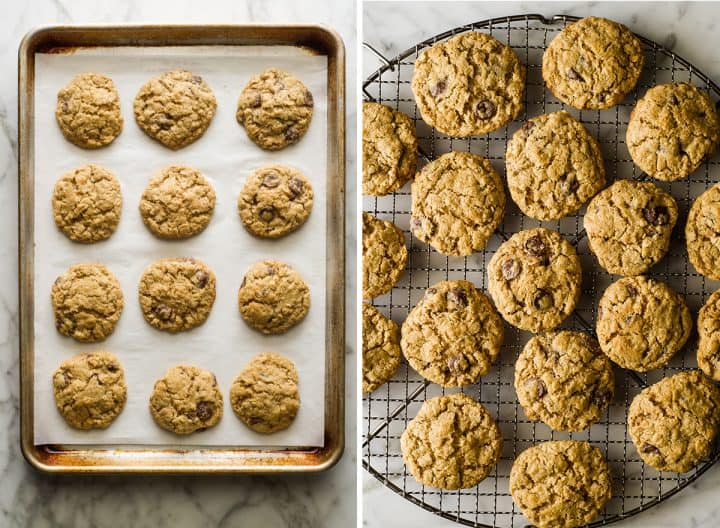 two overhead photos showing How to Make Lactation Cookies