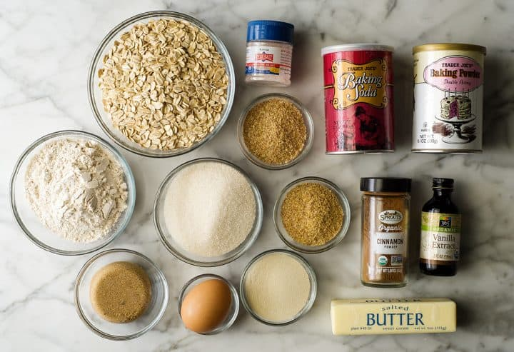 overhead view of the ingredients in this Best Lactation Cookies Recipe