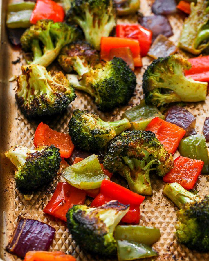 Oven Roasted Vegetables on a baking sheet after roasting