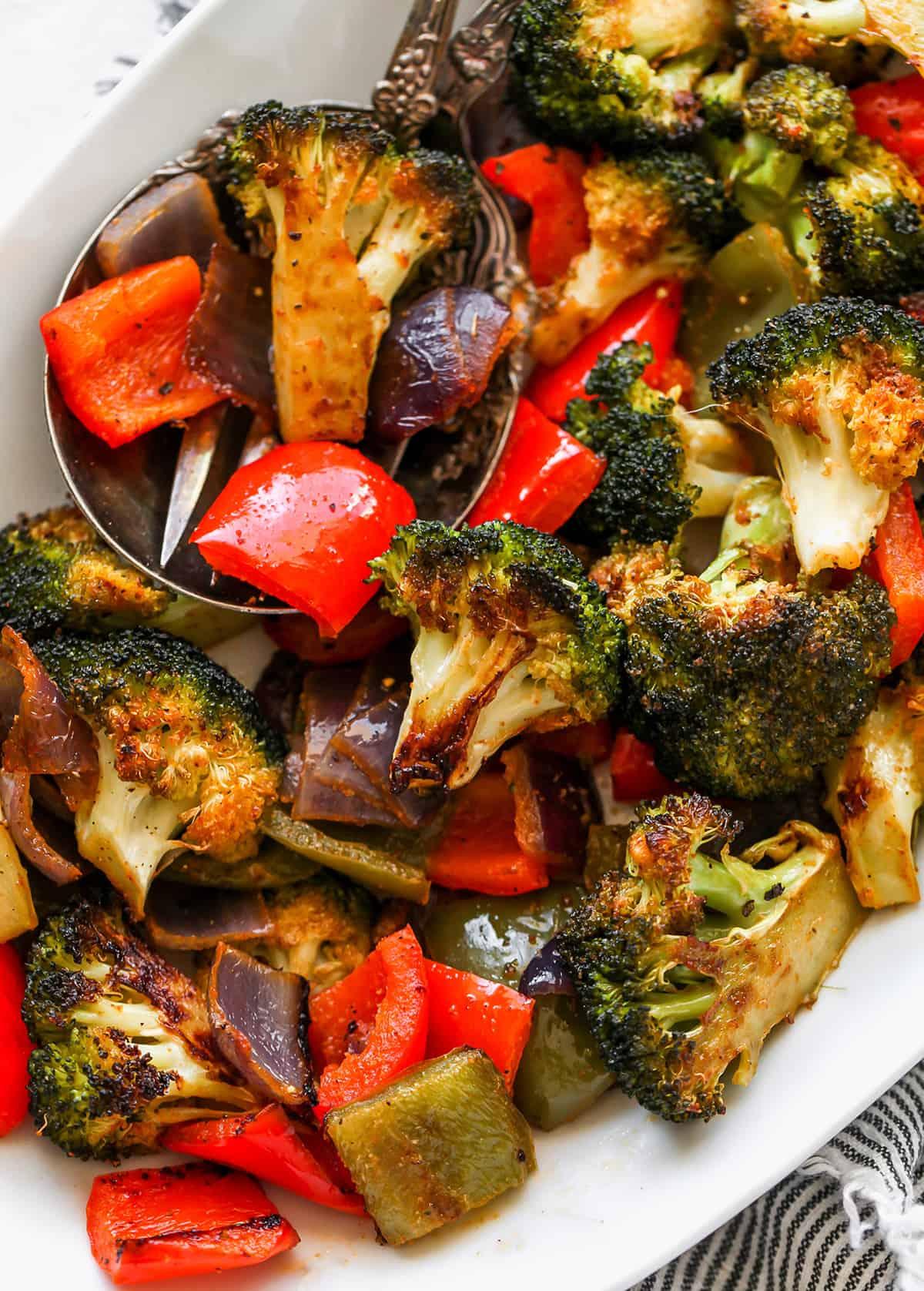 overhead vie of Oven Roasted Vegetables on a serving platter