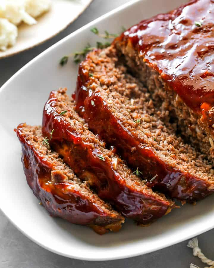 front view of slices of the Best Meatloaf Recipe on a platter