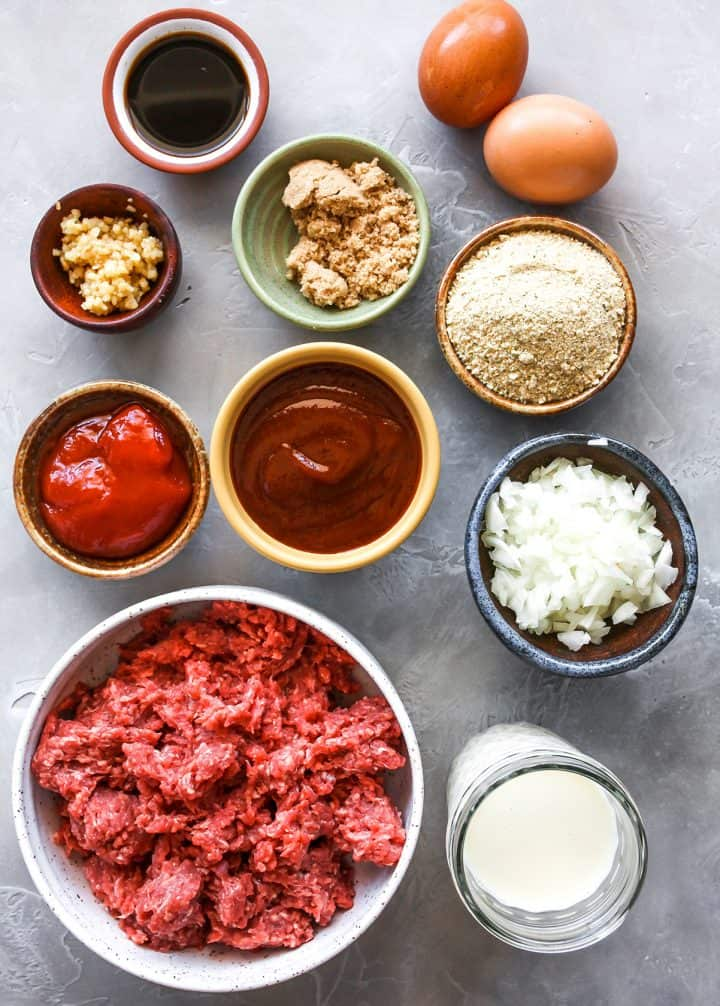 overhead photo of the ingredients in this Best Meatloaf Recipe