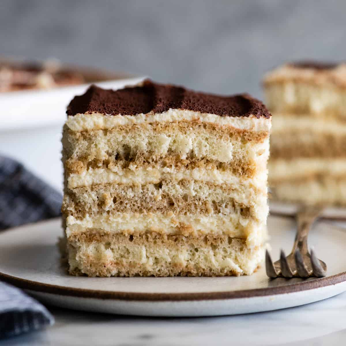 front view of a piece of the Best Tiramisu Recipe on a plate