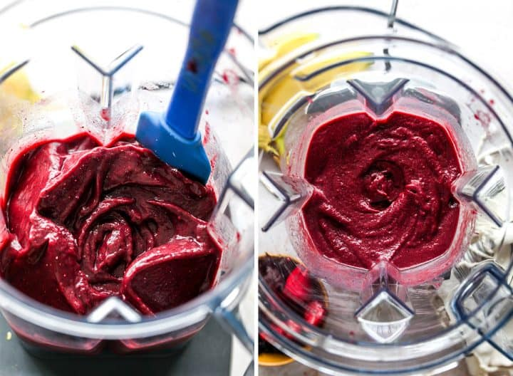 two photos showing How to make Acai Bowl