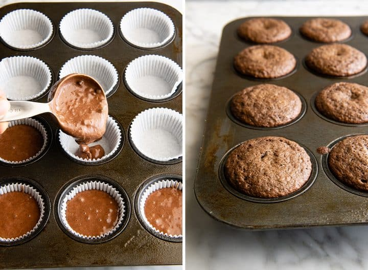 two photos showing How to Make Chocolate Cupcakes