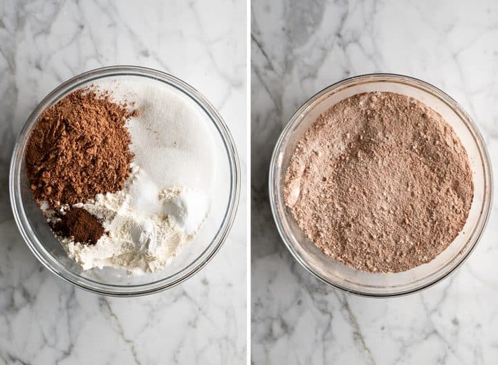 two overhead photos showing How to Make Chocolate Cupcakes