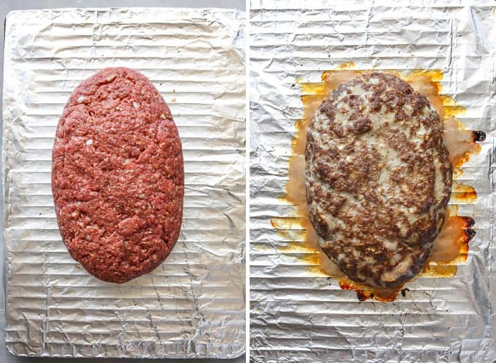 two overhead photos showing How to Make Meatloaf