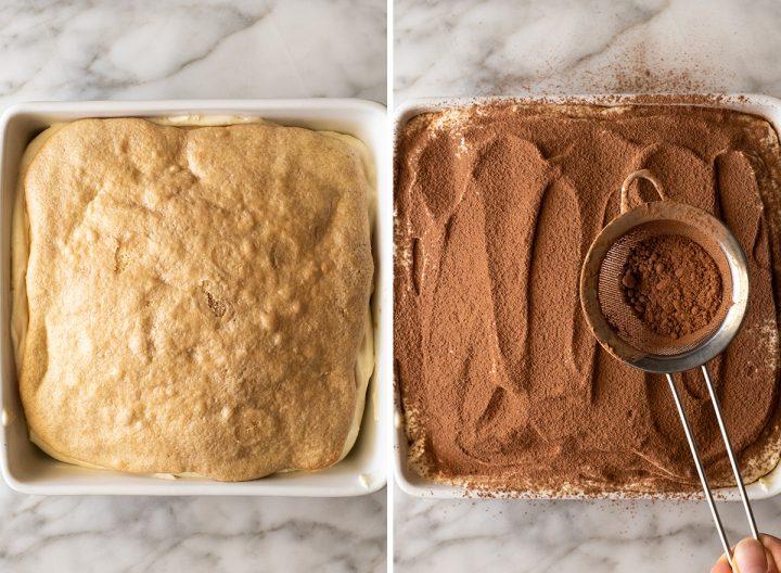 two overhead photos showing How to Make Tiramisu
