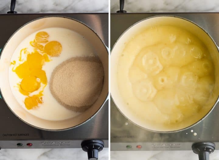 two overhead photos showing How to Make Tiramisu