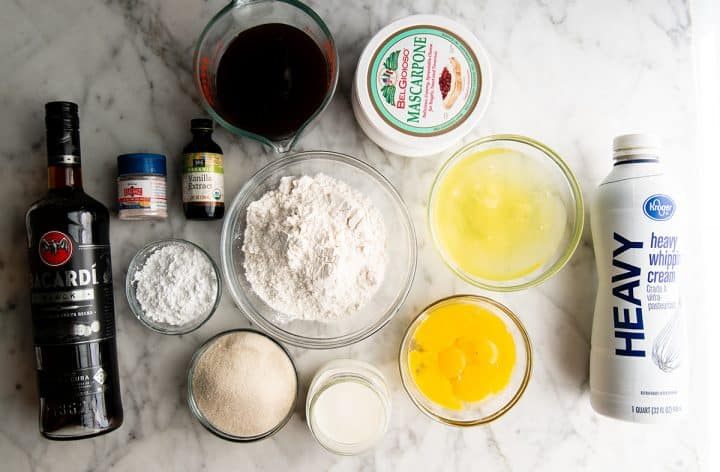 overhead photo of the ingredients in this Best Tiramisu Recipe
