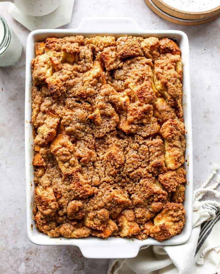 Overnight Baked French Toast Casserole in a baking dish