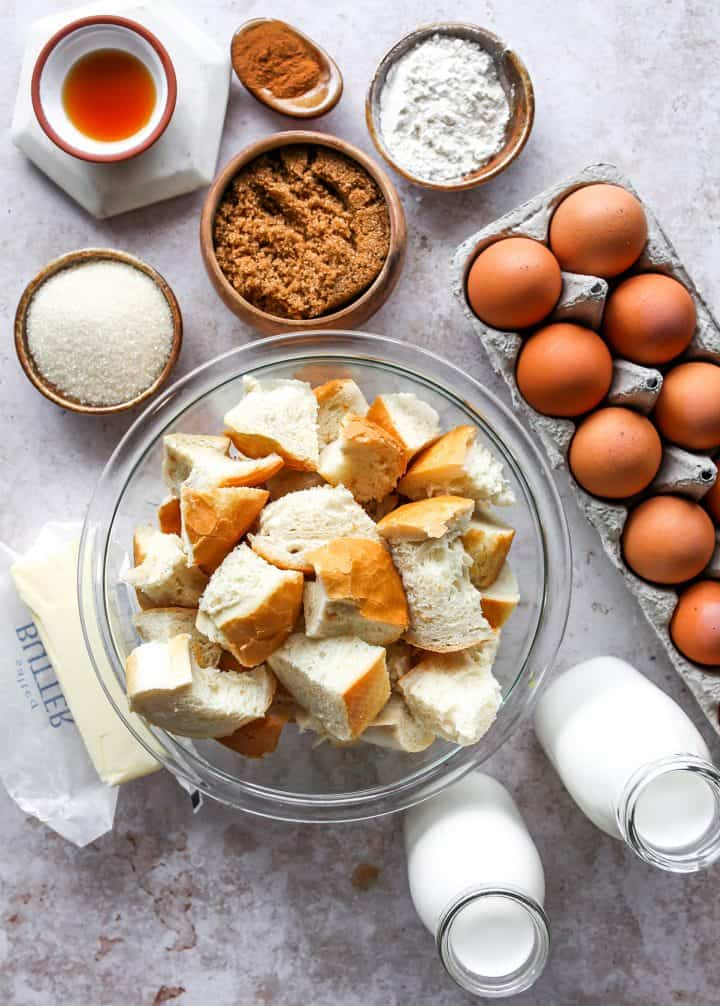 overhead photo of the ingredients in this overnight Baked French Toast Casserole recipe