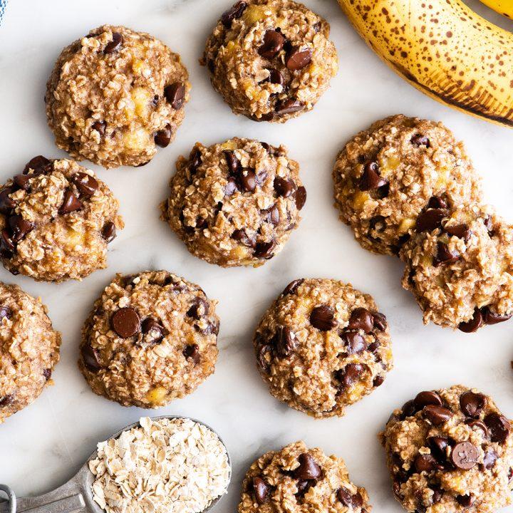 overhead photo of 11 Banana Oatmeal Cookies