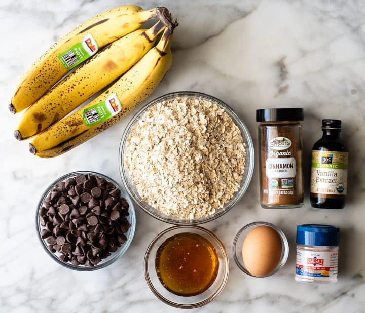overhead photo of the ingredients in this Banana Oatmeal Cookies recipe