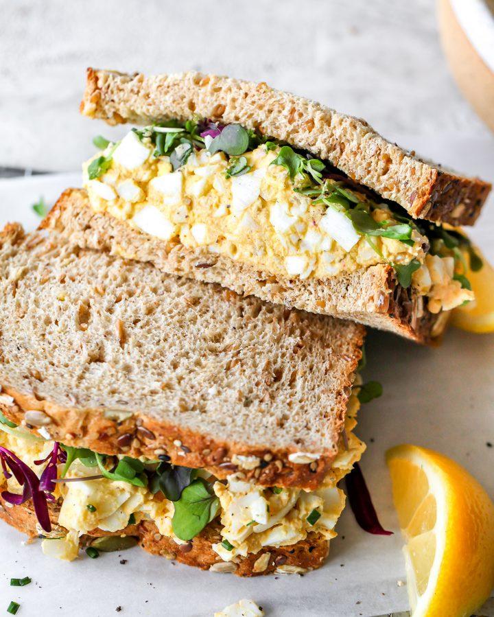 photo of Egg Salad Sandwich cut in half