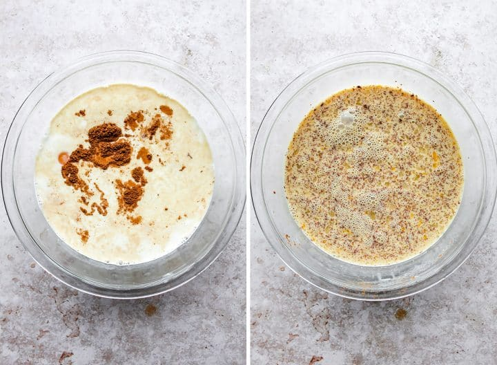 two photos showing how to make Baked French Toast Casserole