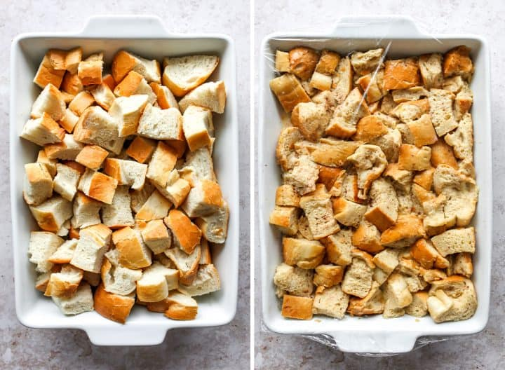 two photos showing how to make Overnight Baked French Toast Casserole