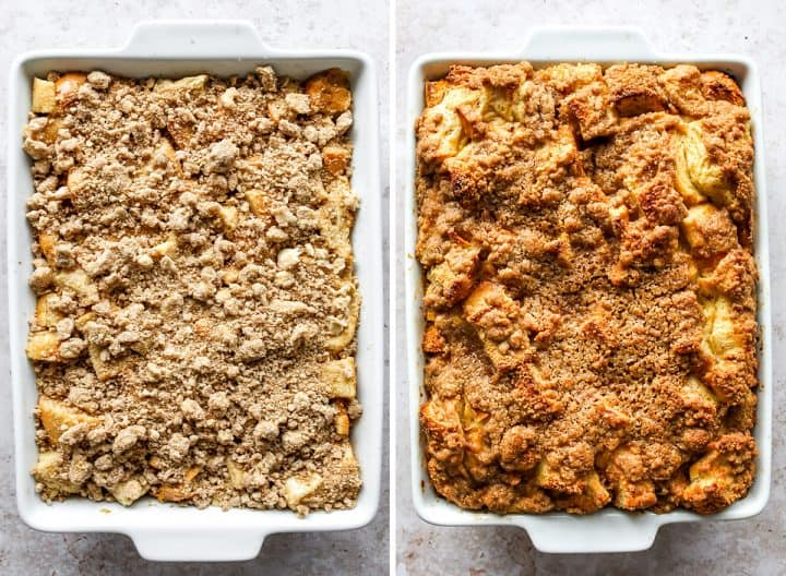 two photos showing how to make French Toast Casserole