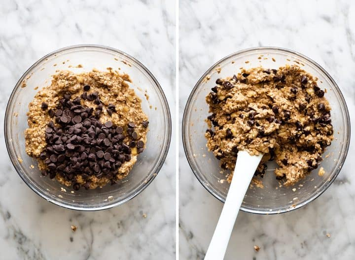two overhead photos showing How to Make Banana Oatmeal Cookies