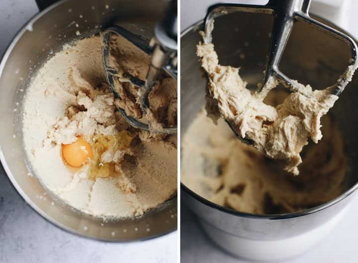 two overhead photos showing How to Make Gluten Free Chocolate Chip Cookies