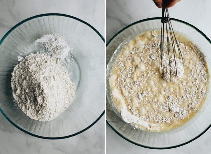 two overhead photos showing How to Make Poppy Seed Cake