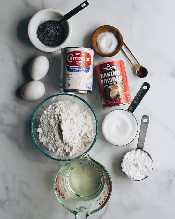 overhead photo of the ingredients in this Poppy Seed Cake Recipe