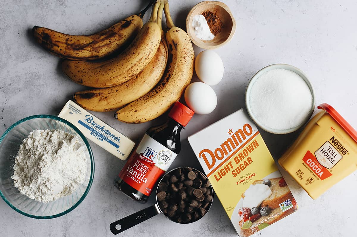 overhead photo of the ingredients in this Chocolate Banana Bread recipe