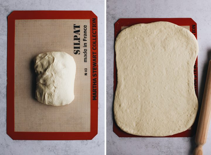 two overhead photos showing How to Make French Bread