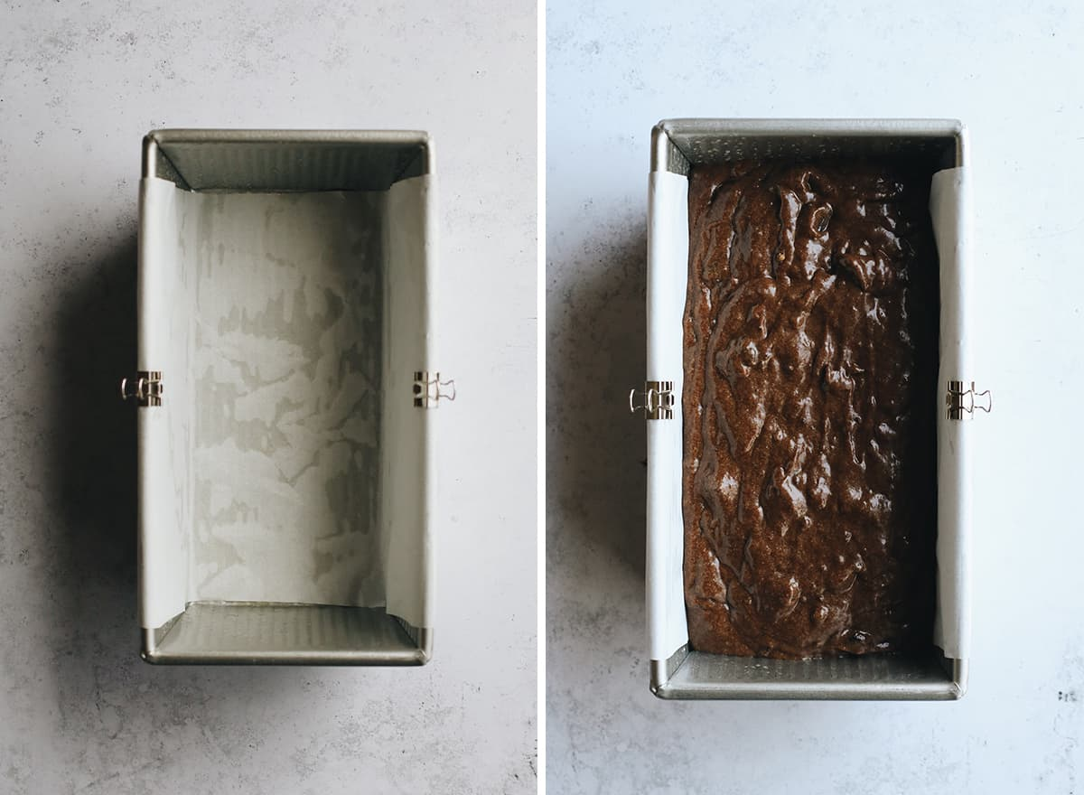 two photos showing how to make Chocolate Banana Bread