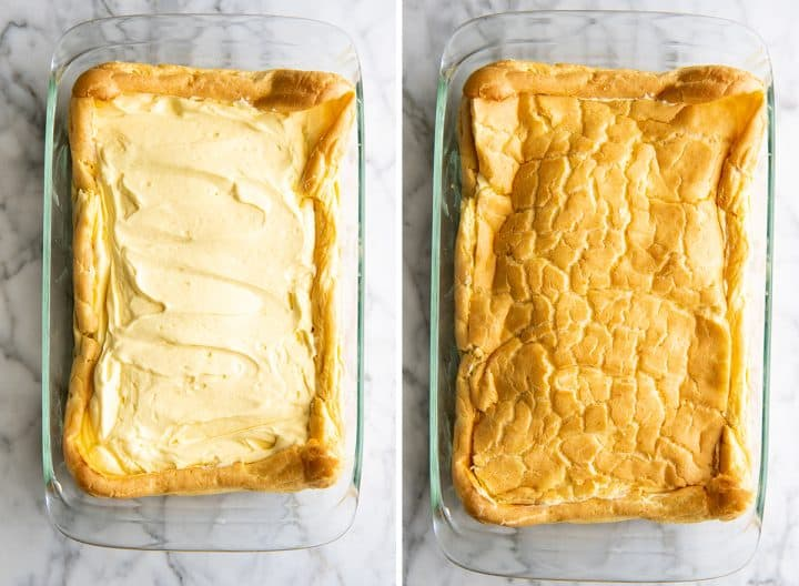 two overhead photos showing How to Make Eclair Cake
