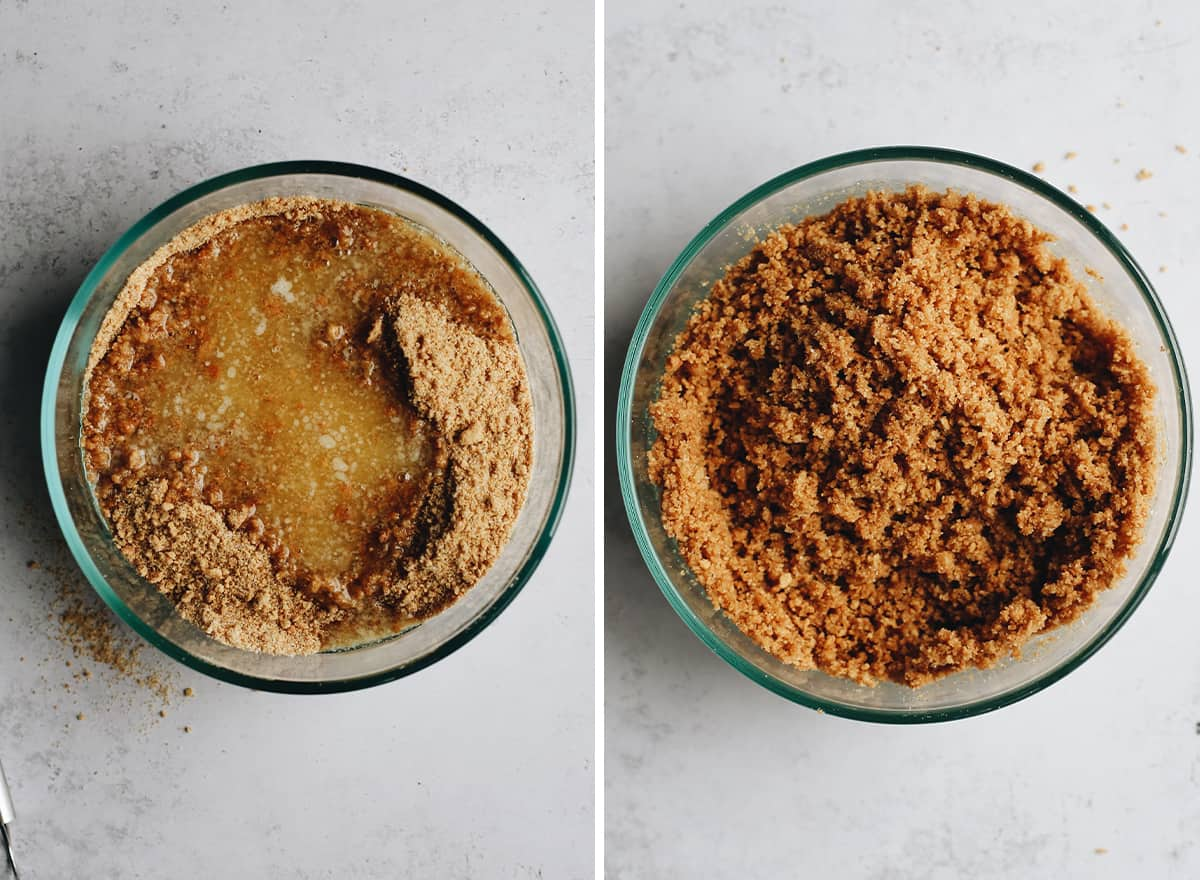 two overhead photos showing How to Make Key Lime Pie