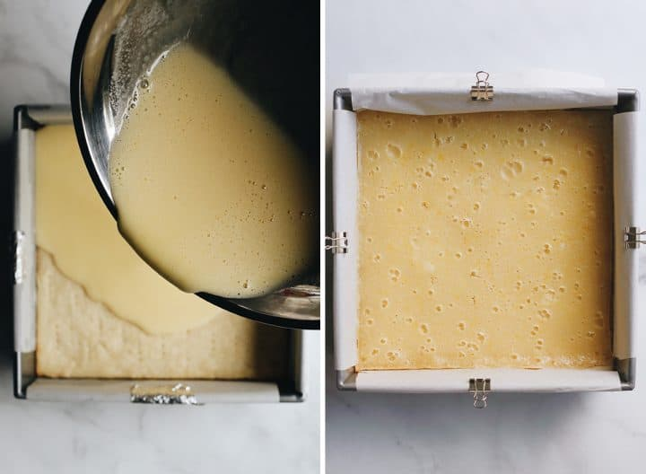 two photos showing How to Make Lemon Bars