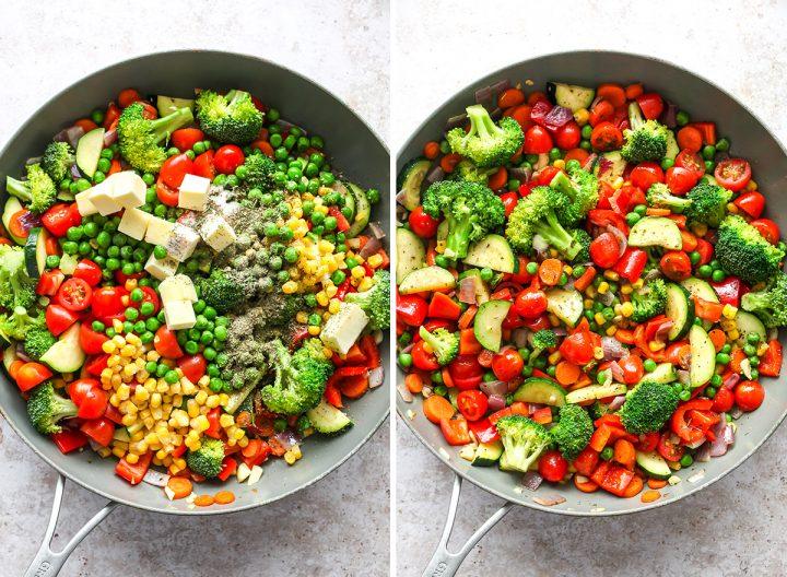 two overhead photos showing How to Make Pasta Primavera Recipe