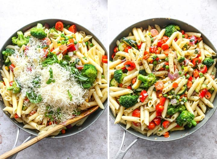two overhead photos showing How to Make Pasta Primavera