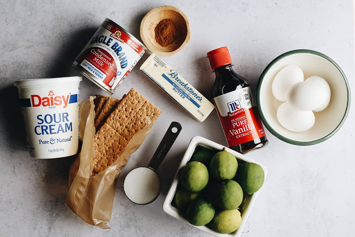 overhead photo of the ingredients in this Key Lime Pie recipe