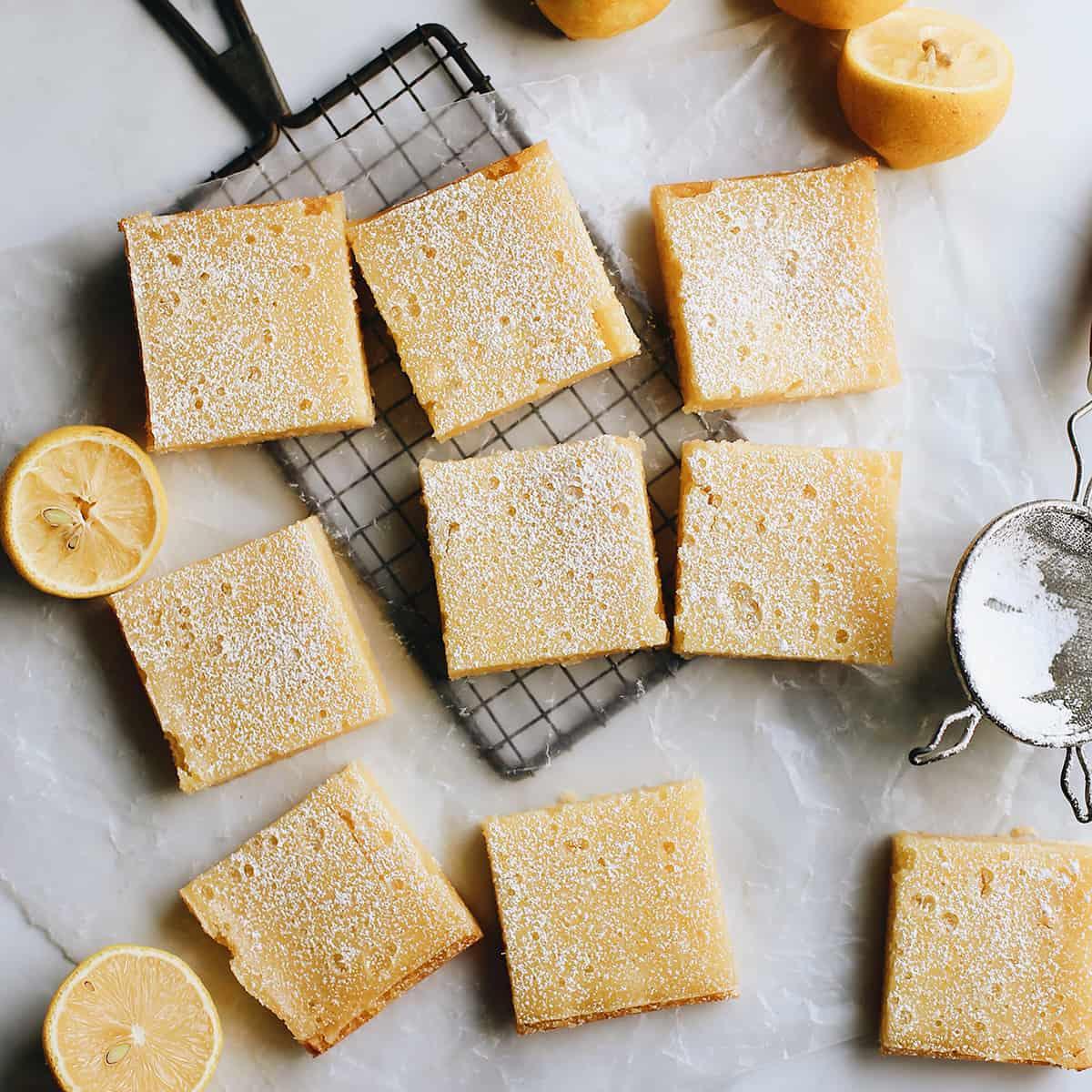 overhead photo of 9 lemon squares
