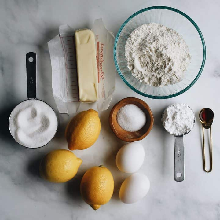 overhead photo of the ingredients in this Lemon Bars Recipe
