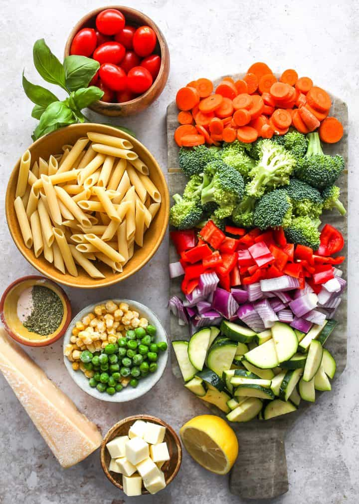 overhead view of the ingredients in this Pasta Primavera Recipe