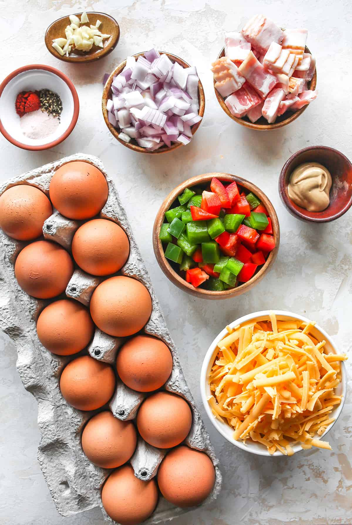 overhead view of the ingredients in this Breakfast Egg Muffins Recipe (Egg Cups)
