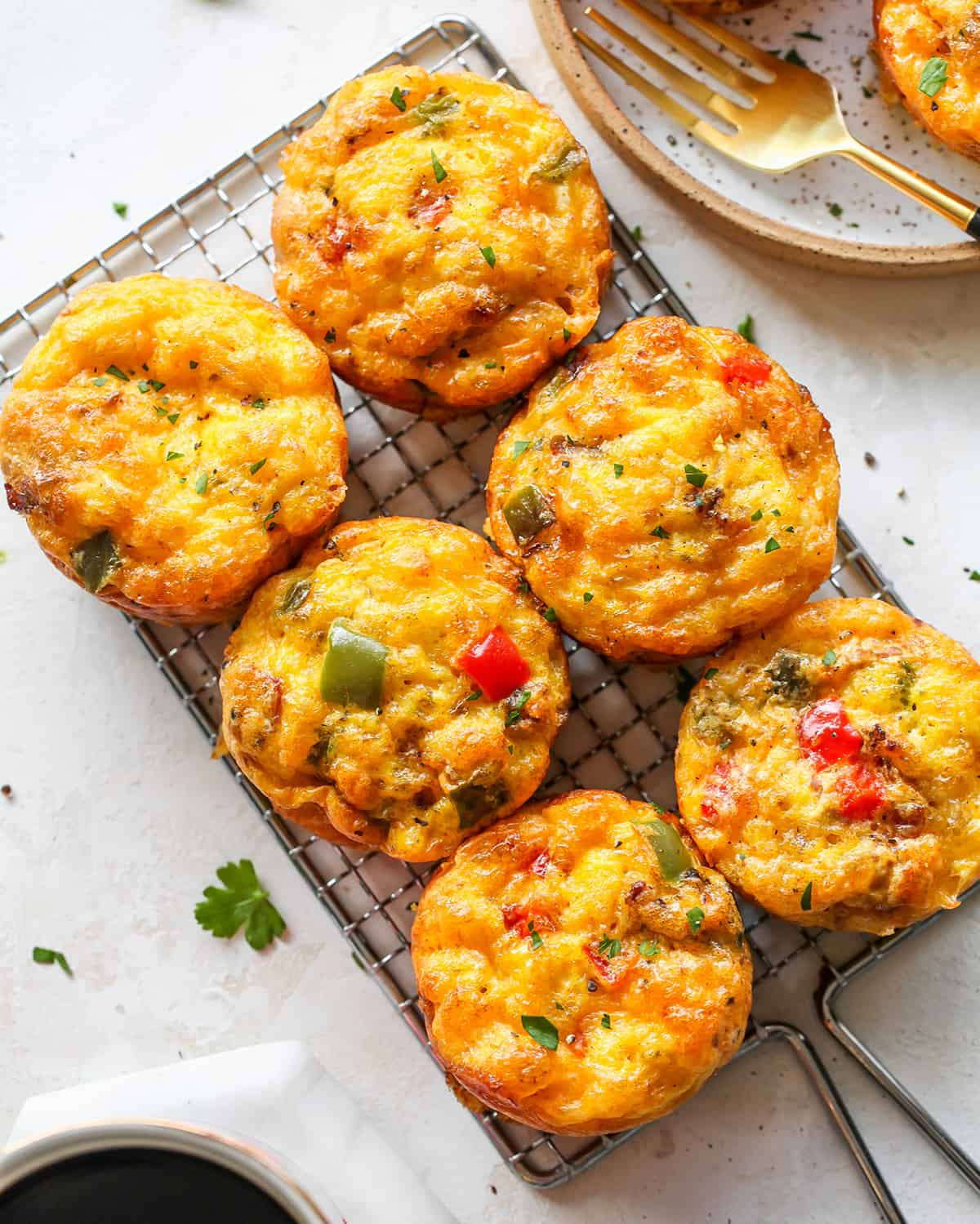 overhead photo of 6 Breakfast Egg Muffins (Egg Cups)