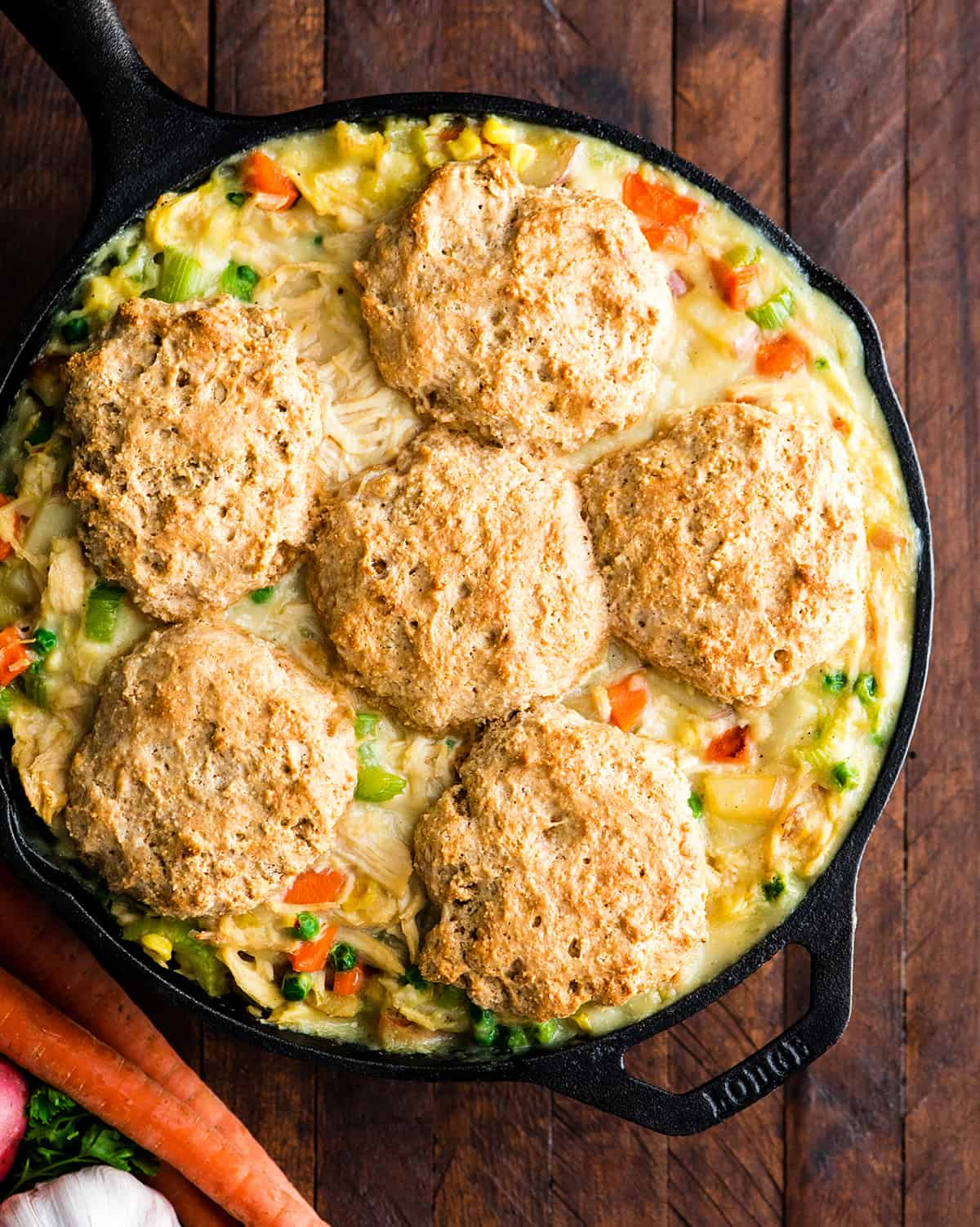 photo of a healthy chicken pot pie in a cast iron skillet