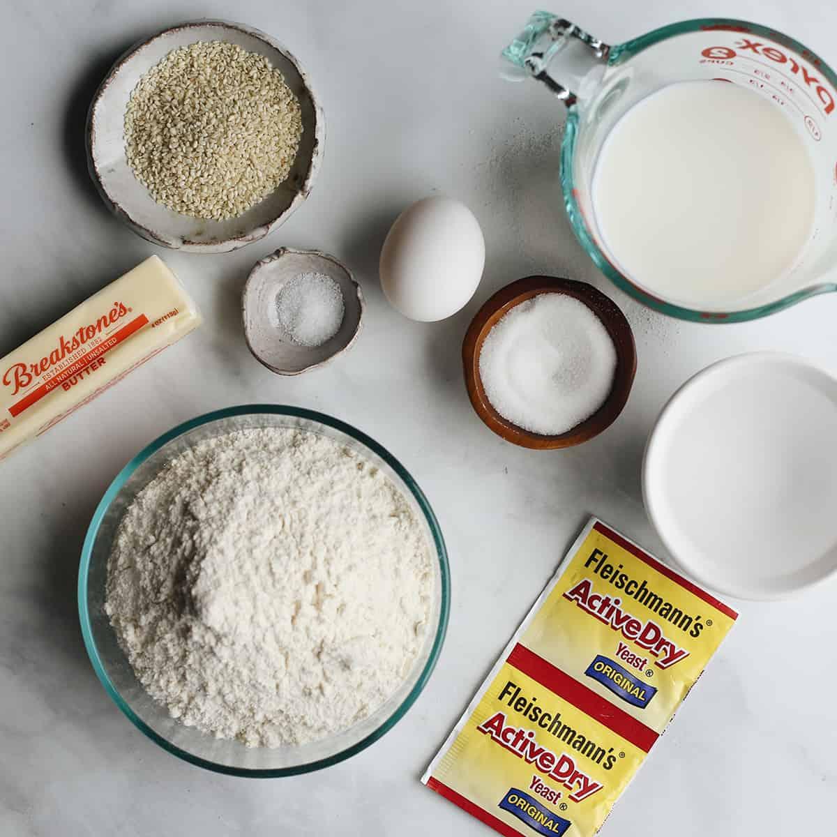 ingredients in this Homemade Hamburger Bun recipe