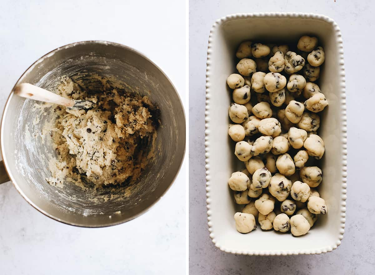 two overhead photos showing How to Make Cookie Dough Ice Cream